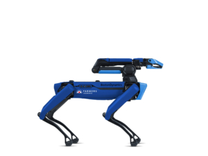 a blue robot in the shape of a dog