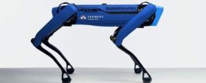 un robot bleu en forme de chien